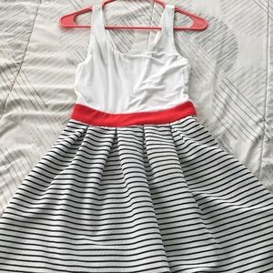 White and Striped A-line dress